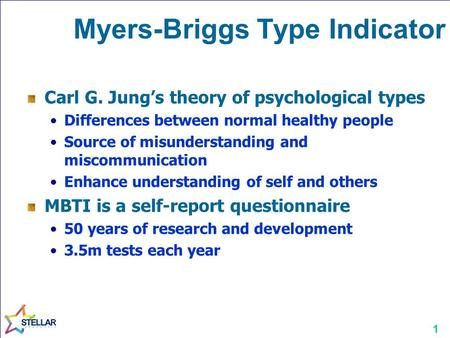 1 Myers-Briggs Type Indicator Carl G. Jung's theory of psychological types Differences between normal healthy people Source of misunderstanding and miscommunication.
