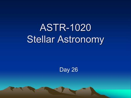 ASTR-1020 Stellar Astronomy Day 26. Galaxy Classes.