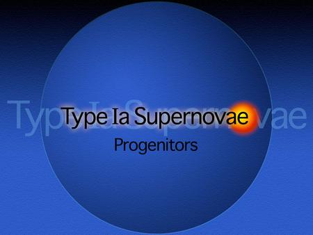 Type Ia Supernovae Progenitors. Type Ia Supernovae Historical defining characteristics: Generally, lack of lines of hydrogen Contain a strong Si II absorption.