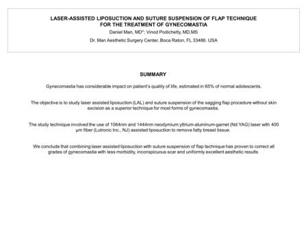 LASER-ASSISTED LIPOSUCTION AND SUTURE SUSPENSION OF FLAP TECHNIQUE