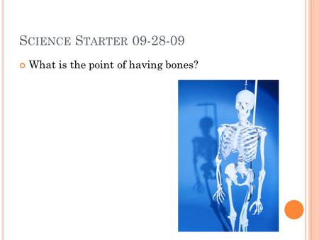S CIENCE S TARTER 09-28-09 What is the point of having bones?