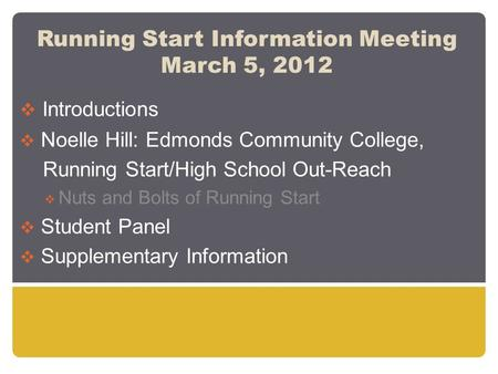 Running Start Information Meeting March 5, 2012  Introductions  Noelle Hill: Edmonds Community College, Running Start/High School Out-Reach  Nuts and.