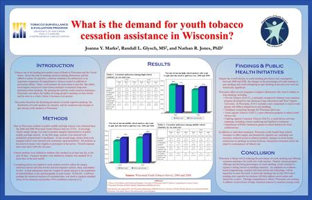Results Introduction Tobacco use is the leading preventable cause of death in Wisconsin and the United States. Given the risk of smoking initiation during.