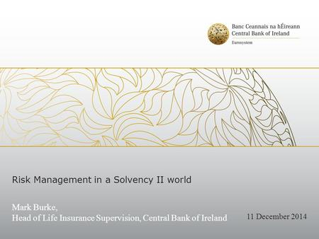 Risk Management in a Solvency II world Mark Burke, Head of Life Insurance Supervision, Central Bank of Ireland 11 December 2014.
