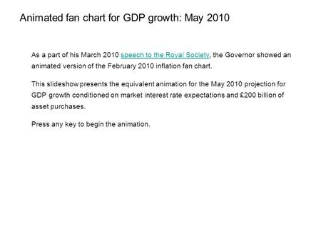 Animated fan chart for GDP growth: May 2010 As a part of his March 2010 speech to the Royal Society, the Governor showed an animated version of the February.