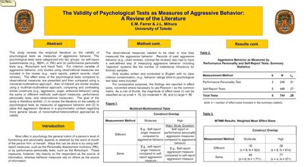 Abstract The Validity of Psychological Tests as Measures of Aggressive Behavior: A Review of the Literature E.M. Farrer & J.L. Mihura University of Toledo.