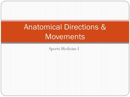 Anatomical Directions & Movements