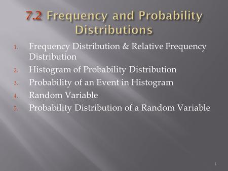 1. Frequency Distribution & Relative Frequency Distribution 2. Histogram of Probability Distribution 3. Probability of an Event in Histogram 4. Random.
