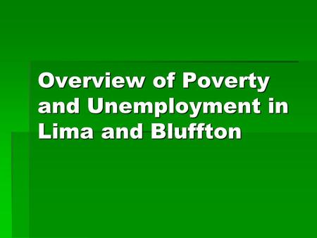 Overview of Poverty and Unemployment in Lima and Bluffton.