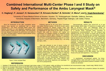 Combined International Multi-Center Phase I and II Study on Safety and Performance of the Ambu Laryngeal Mask ® C. Hagberg 1, F. Jensen 2, H. Genzwurker.