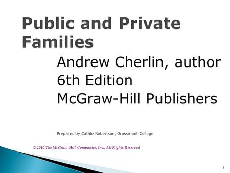 1 Public and Private Families Andrew Cherlin, author 6th Edition McGraw-Hill Publishers Prepared by Cathie Robertson, Grossmont College © 2010 The McGraw-Hill.