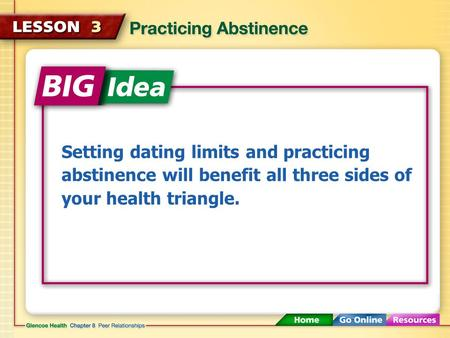 Setting dating limits and practicing abstinence will benefit all three sides of your health triangle.