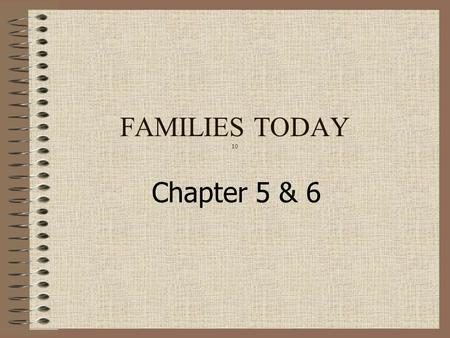 Chapter 5 & 6 FAMILIES TODAY 10. Social Health 1 st relationship Learn Interdependence – one person's actions affect the lives of all family members Lessons.