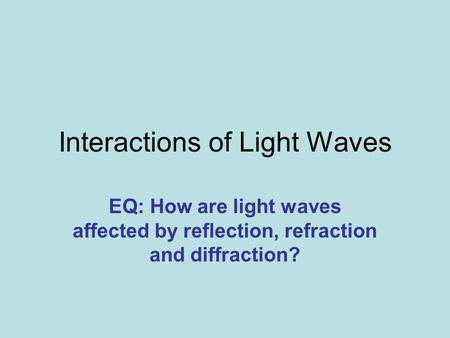 Interactions of Light Waves