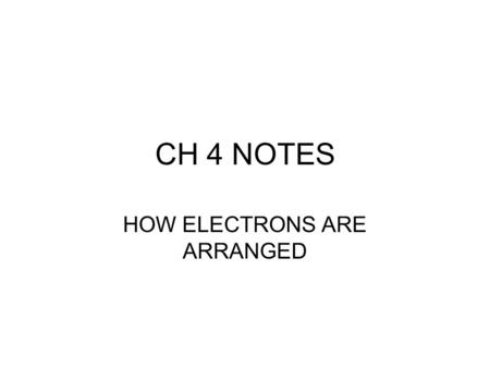 CH 4 NOTES HOW ELECTRONS ARE ARRANGED. ELECTROMAGNETIC SPECTRUM Includes : –Gamma rays –Xrays –Ultraviolet –Visible –Infrared –Microwaves –Radio waves.