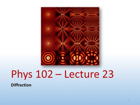 Phys 102 – Lecture 23 Diffraction.