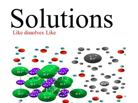 Solutions Like dissolves Like. Describe the terms electronegativity and polarity Explain the solution process of simple ionic and covalent compounds Include: