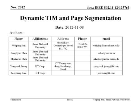 Submission doc.: IEEE 802.11-12/1357r3 Nov. 2012 Slide 1 Dynamic TIM and Page Segmentation Date: 2012-11-08 Authors: Weiping Sun, Seoul National University.
