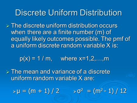 Discrete Uniform Distribution