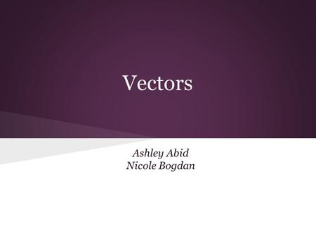 Ashley Abid Nicole Bogdan Vectors. Vectors and Scalars A vector quantity is a quantity that is fully described by both magnitude and direction. Scalars.