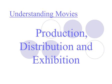 Production, Distribution and Exhibition Understanding Movies.