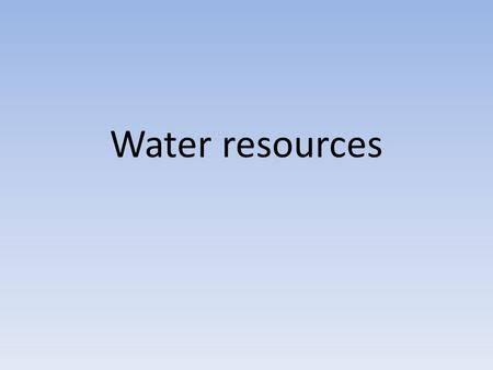 Water resources. Water resources are sources of water that are useful or potentially useful to humans. Uses of water include agricultural, industrial,