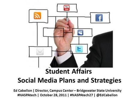 Student Affairs Social Media Plans and Strategies Ed Cabellon | Director, Campus Center – Bridgewater State University #NASPAtech | October 28, 2011 |