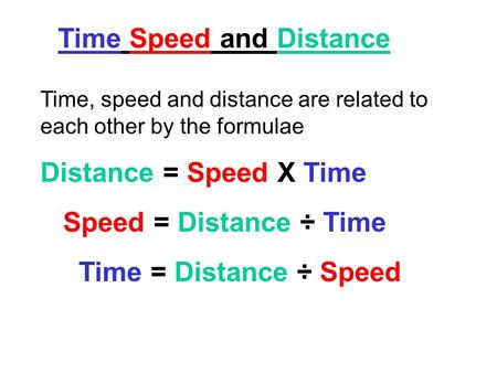 Time Speed and Distance Time, speed and distance are related to each other by the formulae Distance = Speed X Time Speed = Distance ÷ Time Time = Distance.
