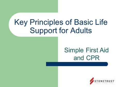 Key Principles of Basic Life Support for Adults Simple First Aid and CPR.