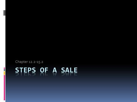 Chapter 12.2-15.2 Steps of a Sale.