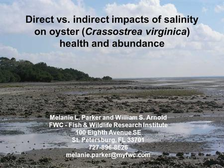 Direct vs. indirect impacts of salinity on oyster (Crassostrea virginica) health and abundance Melanie L. Parker and William S. Arnold FWC - Fish & Wildlife.