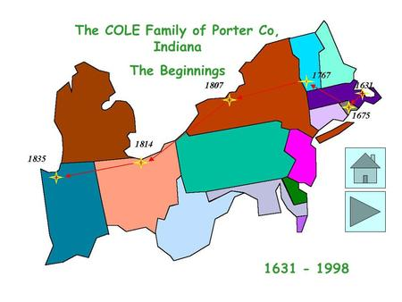 The COLE Family of Porter Co, Indiana The Beginnings 1631 - 1998.
