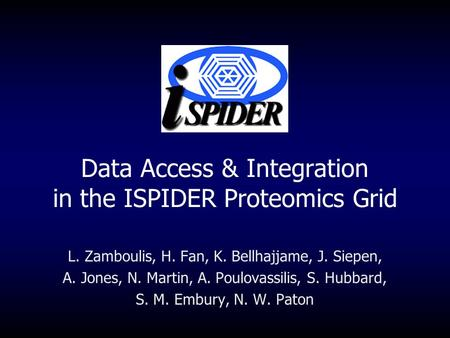 Data Access & Integration in the ISPIDER Proteomics Grid L. Zamboulis, H. Fan, K. Bellhajjame, J. Siepen, A. Jones, N. Martin, A. Poulovassilis, S. Hubbard,