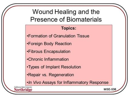 MSE-536 Wound Healing and the Presence of Biomaterials Topics: Formation of Granulation Tissue Foreign Body Reaction Fibrous Encapsulation Chronic Inflammation.