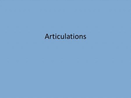 Articulations. Chapter 11 Joints Joints b) Fibrous Joints 1) connections between adjacent bones 2) syndesmoses to gomphoses 3) ex.suture c) Cartilagenous.