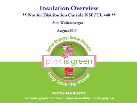 Stan Wolfersberger August 2013 Insulation Overview ** Not for Distribution Outside NSF/UL 440 **