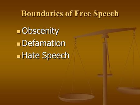 Obscenity Obscenity Defamation Defamation Hate Speech Hate Speech Boundaries of Free Speech.