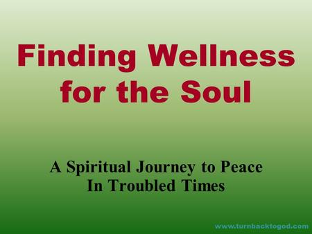 Finding Wellness for the Soul A Spiritual Journey to Peace In Troubled Times www.turnbacktogod.com.