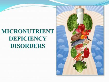 MICRONUTRIENT DEFICIENCY DISORDERS. NUTRITIONAL DEFICINCY DISORDERS Objectives: Discuss common micronutrient deficiencies disorders.