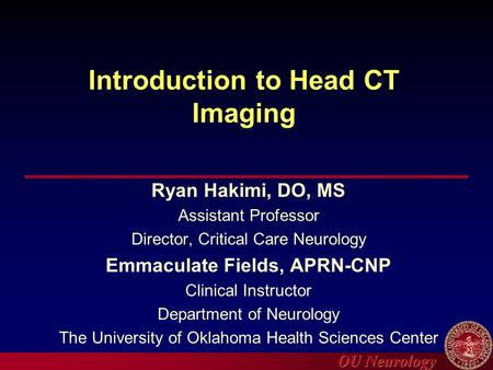 Introduction to Head CT Imaging