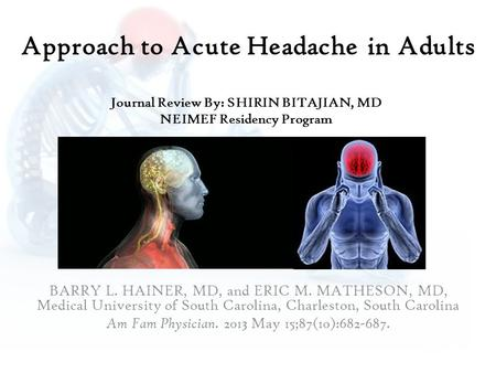 Approach to Acute Headache in Adults