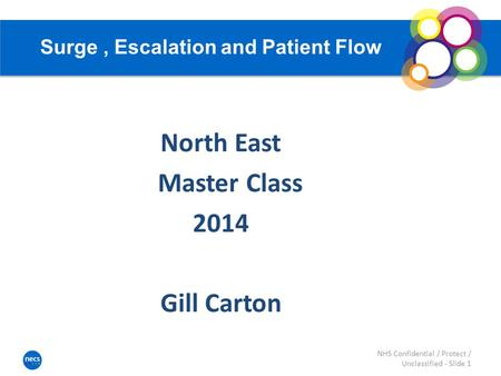 Surge, Escalation and Patient Flow North East Master Class 2014 Gill Carton NHS Confidential / Protect / Unclassified - Slide 1.