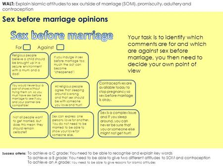 Sex before marriage Sex before marriage opinions