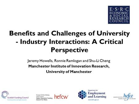 Benefits and Challenges of University - Industry Interactions: A Critical Perspective Jeremy Howells, Ronnie Ramlogan and Shu-Li Cheng Manchester Institute.
