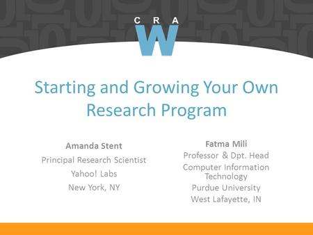 Starting and Growing Your Own Research Program Fatma Mili Professor & Dpt. Head Computer Information Technology Purdue University West Lafayette, IN Amanda.