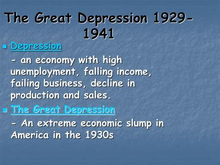 The Great Depression Depression