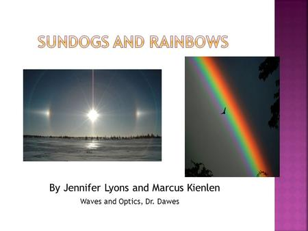 By Jennifer Lyons and Marcus Kienlen Waves and Optics, Dr. Dawes.