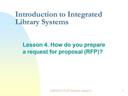 Introduction to Integrated Library Systems