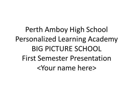 Perth Amboy High School Personalized Learning Academy BIG PICTURE SCHOOL First Semester Presentation.