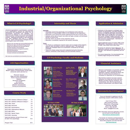 Employment opportunities for those with a Master's degree in I/O psychology include public and private sector jobs such as: Personnel research Wage and.